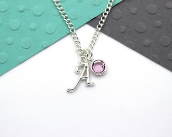 Personalized Initial Necklace, Birthstone Custom Charm Necklace, Personalised Swarovski Birthstone & Initial Name Gift