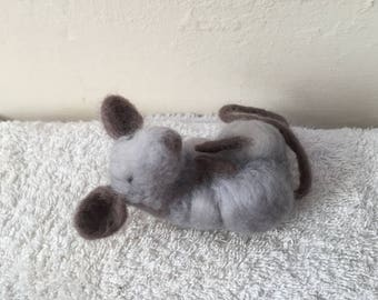 Needle felt sleepy mouse