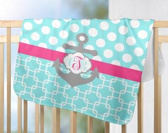Anchor Monogram Blanket, Nautical Nursery-Personalized Blanket-Girl Name Blanket- Girl Shower Gift, Swaddle Blanket Pillow Set-Baby Pillow