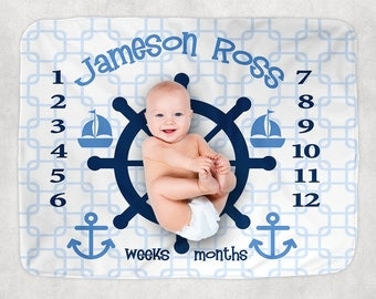 Nautical Milestone Blanket, Month Growth Chart, Baby Blanket, Custom Personalized Baby Boy Shower Gift, Nautical Newborn Gift