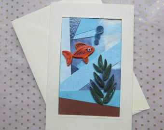 Under The Sea, Quilled Fish Greetings Card, Handmade