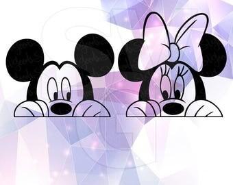 Mickey Minnie Mouse Peeking Layered SVG DXF EPS Vector Silhouette Cricut Cameo Vinyl Decal Cut Files Digital Ears Bow Disney Transfer Heat