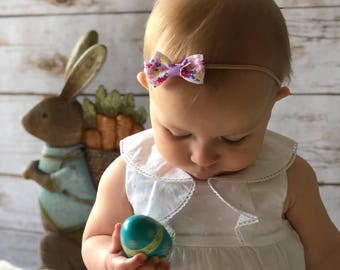 Spring Baby Toddler Headband | Easter Theme |Grosgrain or Satin Bow on a No Mark Nylon Band