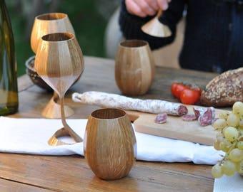 Glass, beer glass wood mug, deco, X 2