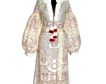 Embroidered boho dress Tunic Linen Tree of Life Ukrainian Dresses Vyshyvanka Custom Ethno Garment Folk Embroidery