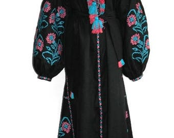 Vyshyvanka Dress Embroidered Dresses Bohemian Clothes Ukrainian Custom Embroidery Boho Clothing Caftan Kaftan Dubai Abaya Long Vishivanka