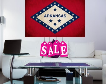 Arkansas State Flag Canvas Large Canvas Extra Large Canvas Arkansas  Flag Large Canvas Wall Art Vintage Flag on Canvas Home Decor AR flag