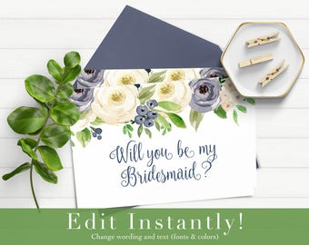 Will You Be My Bridesmaid Download, Will You Be My Bridesmaid Card, Bridesmaid Proposal, Instant Download, Printable Card, Templett