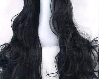 50% sale Customizable - BLACK - long curly wavy Wig w/ bangs - scene emo cosplay anime punk lolita mermaid hair styles real Wig -