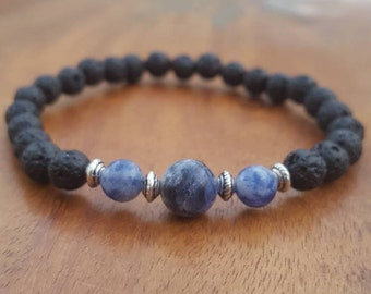 Sodalite diffuser bracelet / Essential oil crystal diffuser bracelet / Aromatherapy lavastone diffuser bracelet