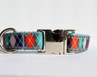 Preppy Argyle Blue Orange and Gray Dog Collar 3/4 inch