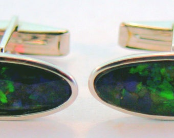 Pair of Sterling Silver Long Oval Canadian Ammolite Cuff Link