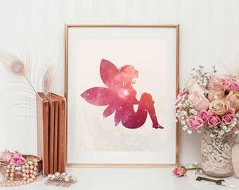 Printable art, Pretty Fairy, Wall Art, Home Living Room Bedroom Decor, Fantasy Print, Gift for Girls Teens, Nursery, Lovely 8x10 Art
