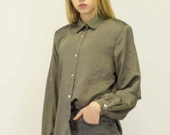 VINTAGE Khaki Long Sleeve Retro Shirt