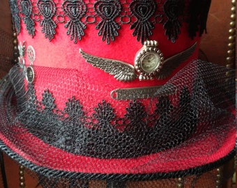 Red Steampunk Top Hat with black veil