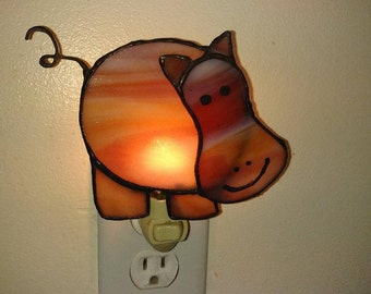 Stained Glass Hippo Nightlight