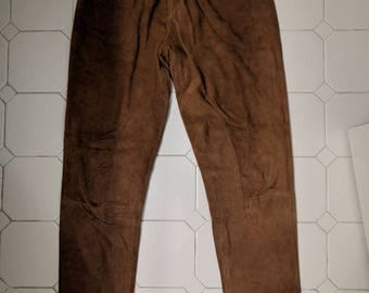 Brown Suede cigarette pants