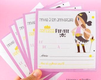 Pirate girl - pirate princess birthday invitations