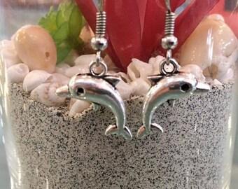 Dolphin earrings in stainless steel ear hooks