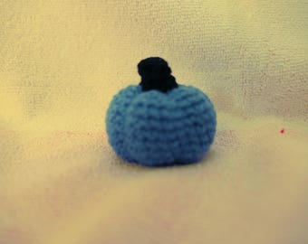 Mini Blue Pumpkin Amigurumi Styled Stuffed Toy, Decoration, All Ages, All Year Around
