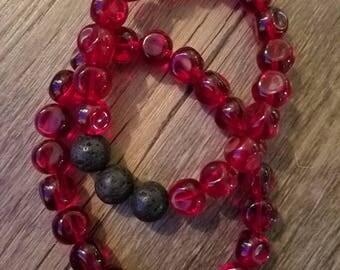 Red Glass Diffuser Bracelet