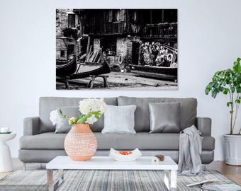 "Venice Gondola Workshop Black and White Wall Print: ""Hard At Work"""