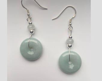 Sage Green Jade Earrings.Jade Dangle Earrings.Chinese Jade Earrings.Jade Donut Earrings.Sterling Silver Earrings.Gemstone.Valentine's Gift