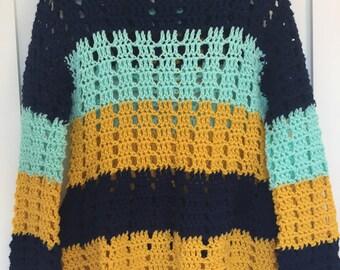 Hand crocheted striped hoodie