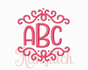 Candle Pin Monogram Embroidery Fonts 5 Sizes Three Letters Monogram Fonts BX Fonts Embroidery Designs PES Alphabets - Instant Download