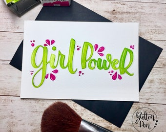hand painted postcard / lettering / ecoline