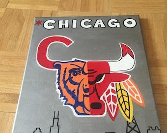 Chicago Sports Teams Mesh Logo & City