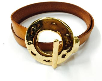 Italian leather Double Bracelet with Ferrules Gold Finish. M-11-O