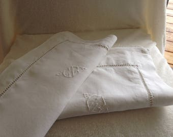 Vintage French beautiful  Pillow Cases Paire with hand embroidery  Monogram and Latterwork