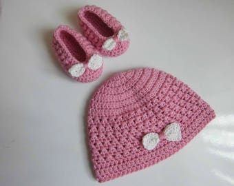 Kuzzy Design Baby Knit Shoes and Hat,Crochet shoes and hat,crochet hat and shoes,crochet baby cloth,Newborn,0-3month,3-6month,6-9month,9-12m