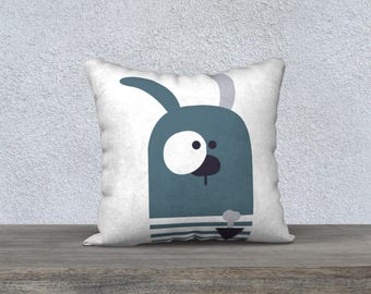 "Kids decorative cushion cover ""flouflou"" dog pillow, pillows, cushion, decorative pillowcase child, baby blue, white, gray"