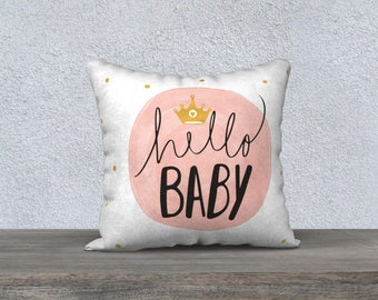 Decorative pillow cover, cushion for child, girl illustration decoration, black, white, pink, cushion, pillows, girls room