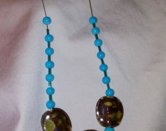 Copper Necklace with turquoise brown clay