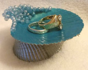 Blue Seashell Ring Dish
