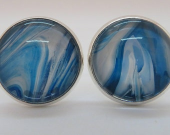 Cufflinks, blue and white, wearable art, statement accessory, custom, hand painted, abstract design, eccentric cufflinks, mixed media.