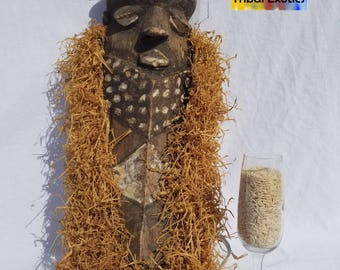 TRIBAL EXOTICS : PREMIUM Authentic fine tribal African Art - Pende Bapende Pinji Mbuya Raffia Wood Mask Figure Sculpture Statue