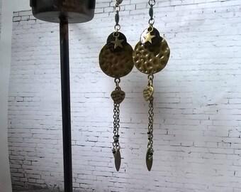 Dangle bronze earrings Green Black Star shell