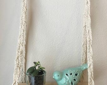 Braided wall hanging shelf