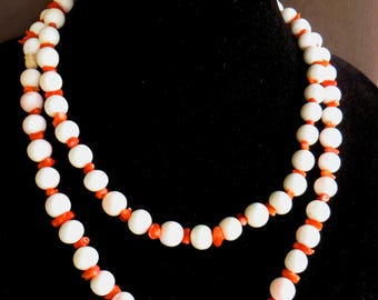 Angelskin Coral and Mini Branch Coral Bead Necklace