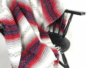 Vintage Mexican Blanket Bohemian BOHO Southwest Festival Throw Blanket