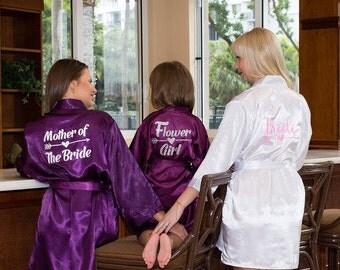 Bridesmaid robes set of 10 monogram robes for bridesmaids, set of 10 silk bridesmaid robes,  set of 10 robes,  set of 10 bridal robes