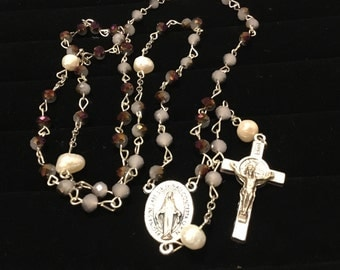 Purple Miracle Medal Rosary
