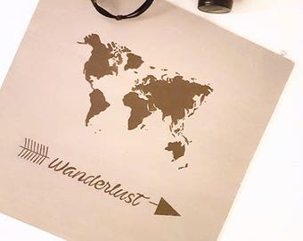 Decorative painting wooden Wanderlust world map