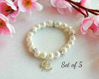 Set of 5 bridesmaid bracelet, personalized gift, flower girl bracelet, pearl bracelet, wedding gift, wedding event, bridal party
