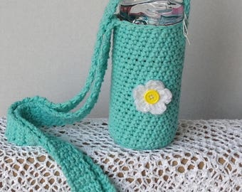 Water bottle holder, baby bottle holder.  Shoulder strap bottle holder.