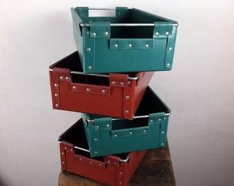 4X Vintage, Industrial Lagerkasten, Lagerbox, Karteikasten, Archivbox, 1970s Design Metal&Cardbord extrem strong Quality